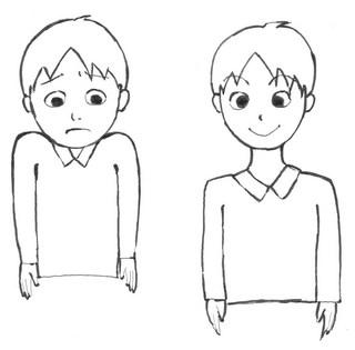 (左)悪い姿勢 (右)良い姿勢